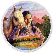 Horse Maiden Round Beach Towel