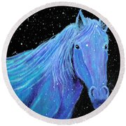 Horse-midnight Snow Round Beach Towel