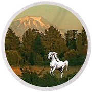 Horse Mountain And Barn Round Beach Towel
