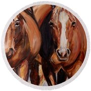 Horse Oil Painting Round Beach Towel
