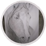 Horse On Paper  Round Beach Towel