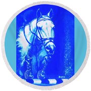 Horse Painting Jumper No Faults Aquamarine Round Beach Towel