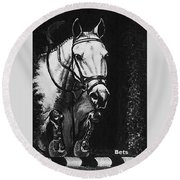 Horse Painting  Jumper No Faults Black And White Round Beach Towel