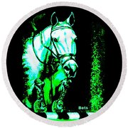 Horse Painting Jumper No Faults Black Blue And Green Round Beach Towel