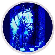 Horse Painting Jumper No Faults Blue Round Beach Towel