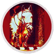 Horse Painting Jumper No Faults Deep Blues And Reds Round Beach Towel