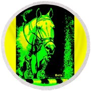 Horse Painting Jumper No Faults Green And Yellow Round Beach Towel