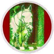 Horse Painting Jumper No Faults Green With Reds Round Beach Towel