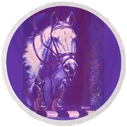 Horse Painting Jumper No Faults Lavender Round Beach Towel