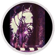 Horse Painting Jumper No Faults Purple Round Beach Towel