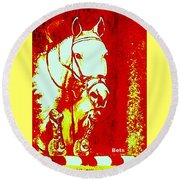 Horse Painting Jumper No Faults Red And White Round Beach Towel