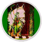 Horse Painting Jumper No Faults Reds Greens Round Beach Towel