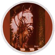 Horse Painting Jumper No Faults Soft Browns Round Beach Towel