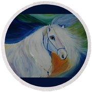 Horse Painting- Knight In Dream Round Beach Towel