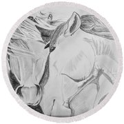 Horse Pair Round Beach Towel