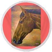 horse portraint PRINCETON pastel colors Round Beach Towel