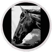 horse portrait PRINCETON black and white Round Beach Towel
