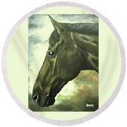 horse portrait PRINCETON bright light Round Beach Towel