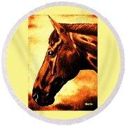 horse portrait PRINCETON brown tones Round Beach Towel