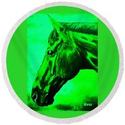 horse portrait PRINCETON green Round Beach Towel