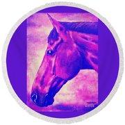 horse portrait PRINCETON pink Round Beach Towel