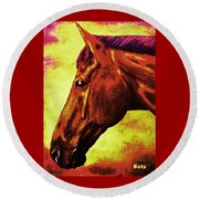 horse portrait PRINCETON purple brown yellow Round Beach Towel