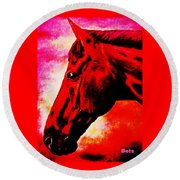 horse portrait PRINCETON red hot Round Beach Towel