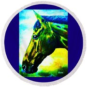 horse portrait PRINCETON vibrant yellow and blue Round Beach Towel