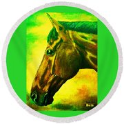 horse portrait PRINCETON yellow green Round Beach Towel