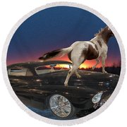 Horse Power Round Beach Towel