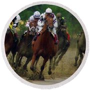 Horse Race Round Beach Towel