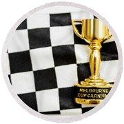 Horse Races Trophy. Melbourne Cup Win Round Beach Towel
