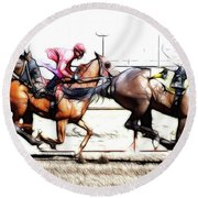 Horse Racing Dreams 2 Round Beach Towel