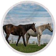 Horses #2 Round Beach Towel