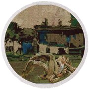 Horse Statue In The Field 1 Round Beach Towel