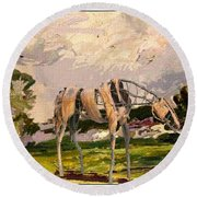 Horse Statue In The Field Round Beach Towel