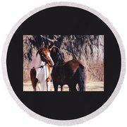 Horse Talk Round Beach Towel