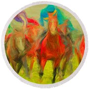 Horse Tracking Round Beach Towel