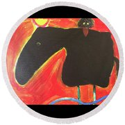 Horse With Crow And Snake At Sunset Round Beach Towel