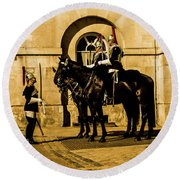 Horseguards Inspection. Round Beach Towel