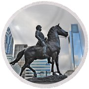 Horseman Between Sky Scrapers Round Beach Towel