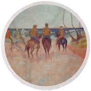 Horseman On The Beach Round Beach Towel