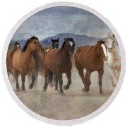 Horses-03 Round Beach Towel