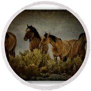 Horses 34 Round Beach Towel