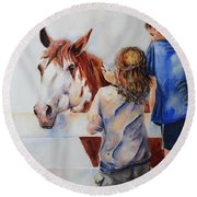 Horses And Children Painting Round Beach Towel