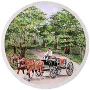 Horses And Wagon Round Beach Towel