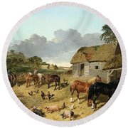 Horses Drinking From A Water Trough, With Pigs And Chickens In A Farmyard Round Beach Towel