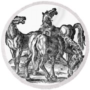 Horses Round Beach Towel