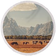 Horses Grazing In Front Of The Teton's Round Beach Towel