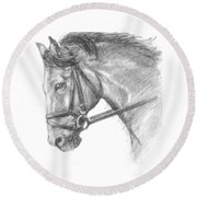 Horse's Head With Bridle Round Beach Towel
